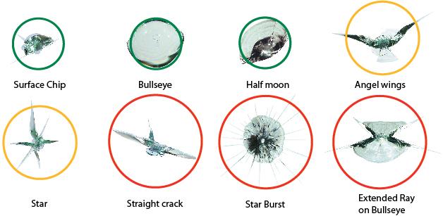 Có rất nhiều dạng vết nứt trên kính lái